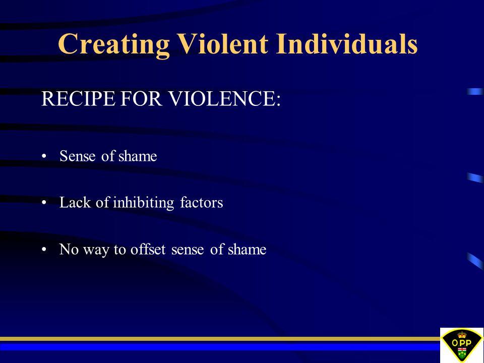 Creating Violent Individuals RECIPE FOR VIOLENCE: Sense of shame Lack of inhibiting factors No way to offset sense of shame