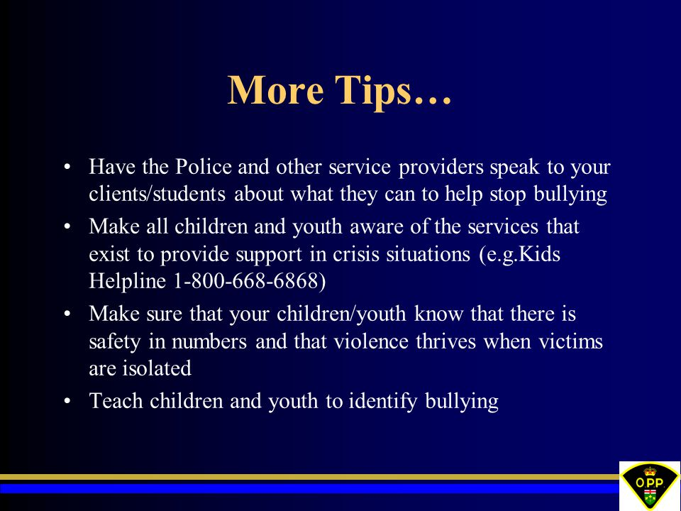 More Tips… Have the Police and other service providers speak to your clients/students about what they can to help stop bullying Make all children and