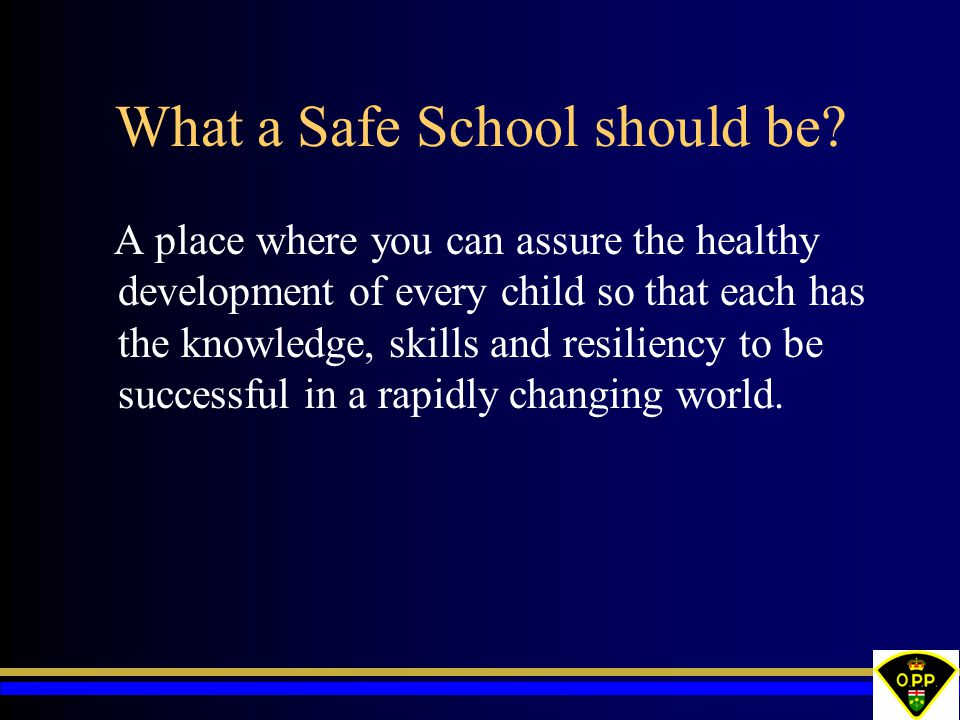 What a Safe School should be? A place where you can assure the healthy development of every child so that each has the knowledge, skills and resilienc
