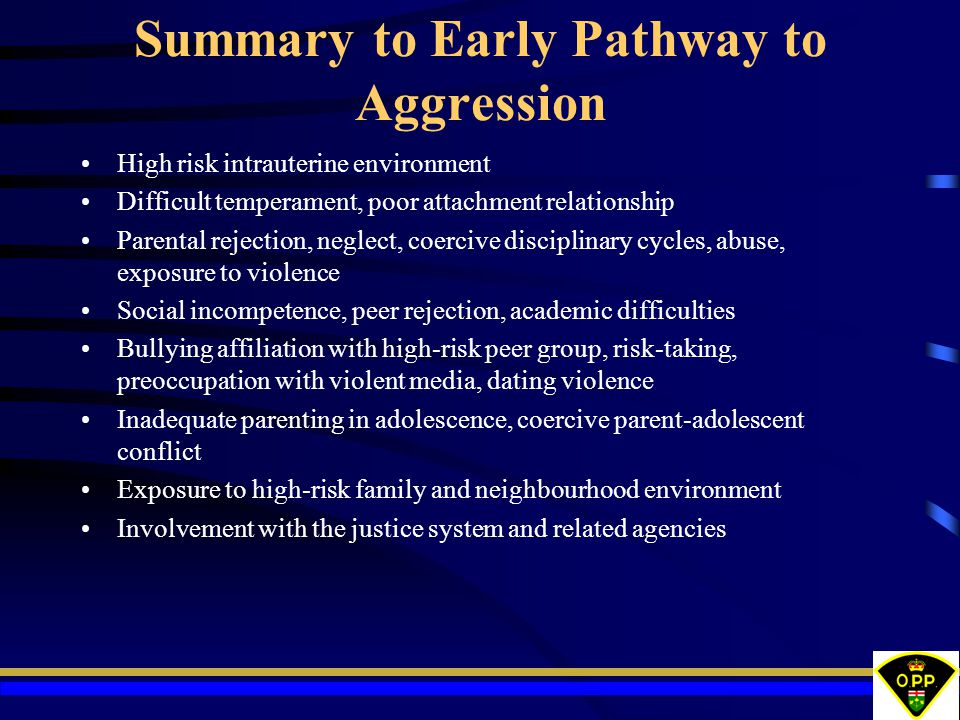 Summary to Early Pathway to Aggression High risk intrauterine environment Difficult temperament, poor attachment relationship Parental rejection, neglect, coercive disciplinary cycles, abuse, exposure to violence Social incompetence, peer rejection, academic difficulties Bullying affiliation with high-risk peer group, risk-taking, preoccupation with violent media, dating violence Inadequate parenting in adolescence, coercive parent-adolescent conflict Exposure to high-risk family and neighbourhood environment Involvement with the justice system and related agencies