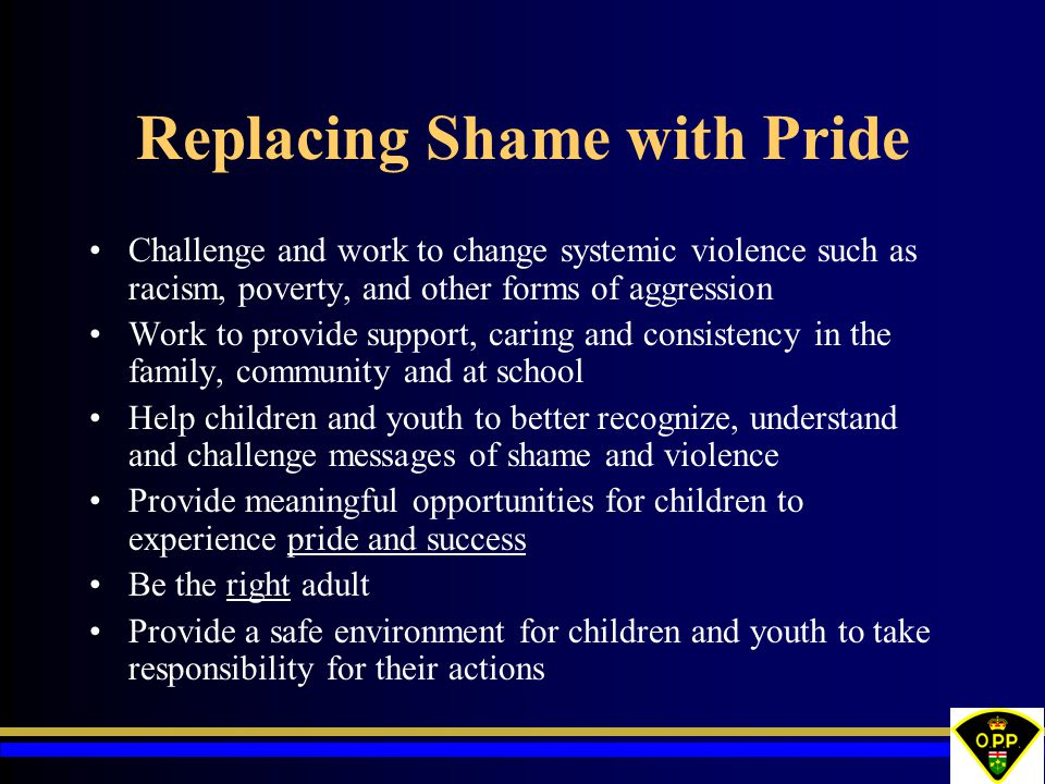 Replacing Shame with Pride Challenge and work to change systemic violence such as racism, poverty, and other forms of aggression Work to provide support, caring and consistency in the family, community and at school Help children and youth to better recognize, understand and challenge messages of shame and violence Provide meaningful opportunities for children to experience pride and success Be the right adult Provide a safe environment for children and youth to take responsibility for their actions
