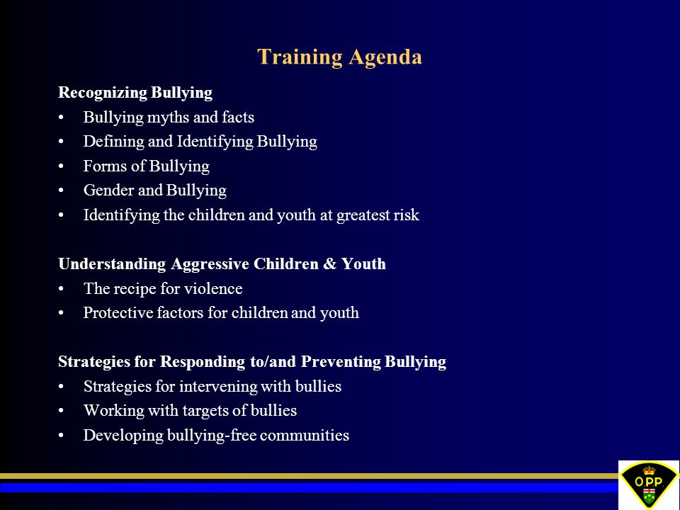 Training Agenda Recognizing Bullying Bullying myths and facts Defining and Identifying Bullying Forms of Bullying Gender and Bullying Identifying the children and youth at greatest risk Understanding Aggressive Children & Youth The recipe for violence Protective factors for children and youth Strategies for Responding to/and Preventing Bullying Strategies for intervening with bullies Working with targets of bullies Developing bullying-free communities