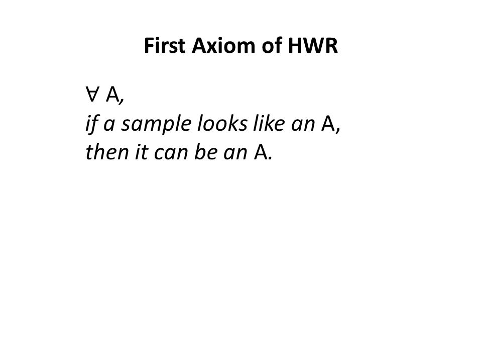 First Axiom of HWR ∀ A, if a sample looks like an A, then it can be an A.