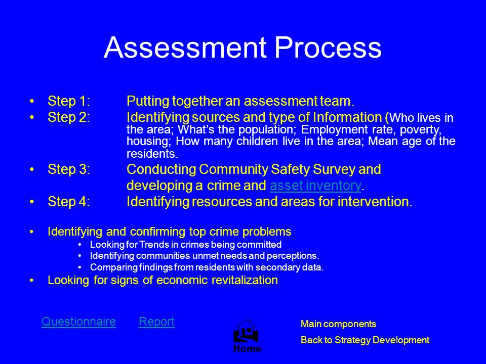 Assessment Process Step 1:Putting together an assessment team. Step 2: Identifying sources and type of Information ( Who lives in the area; What's the