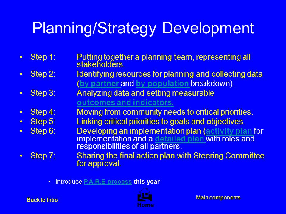 Planning/Strategy Development Step 1: Putting together a planning team, representing all stakeholders. Step 2: Identifying resources for planning and