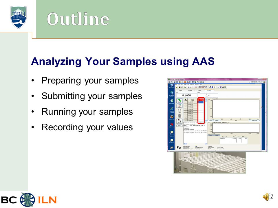 BC ILN 1 Analyzing Your Samples using Atomic Absorption Spectroscopy (AAS) Thompson Rivers University
