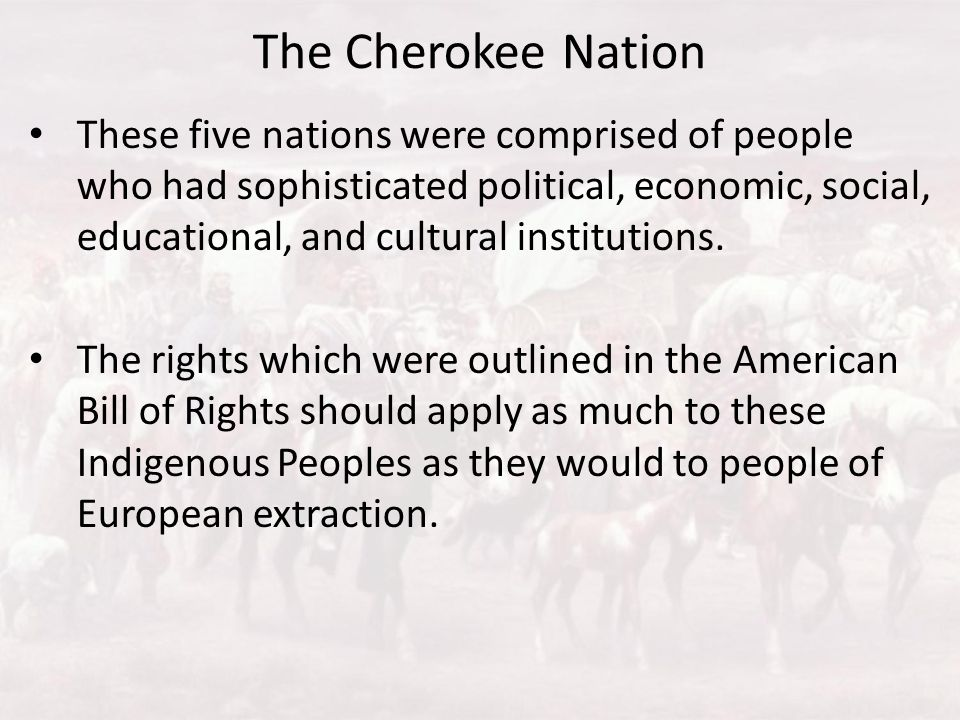 The Cherokee Nation These five nations were comprised of people who had sophisticated political, economic, social, educational, and cultural instituti