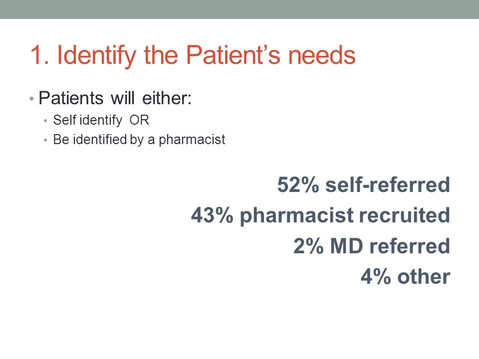 1. Identify the Patient's needs Patients will either: Self identify OR Be identified by a pharmacist 52% self-referred 43% pharmacist recruited 2% MD