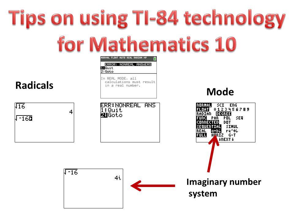 Radicals Mode Imaginary number system