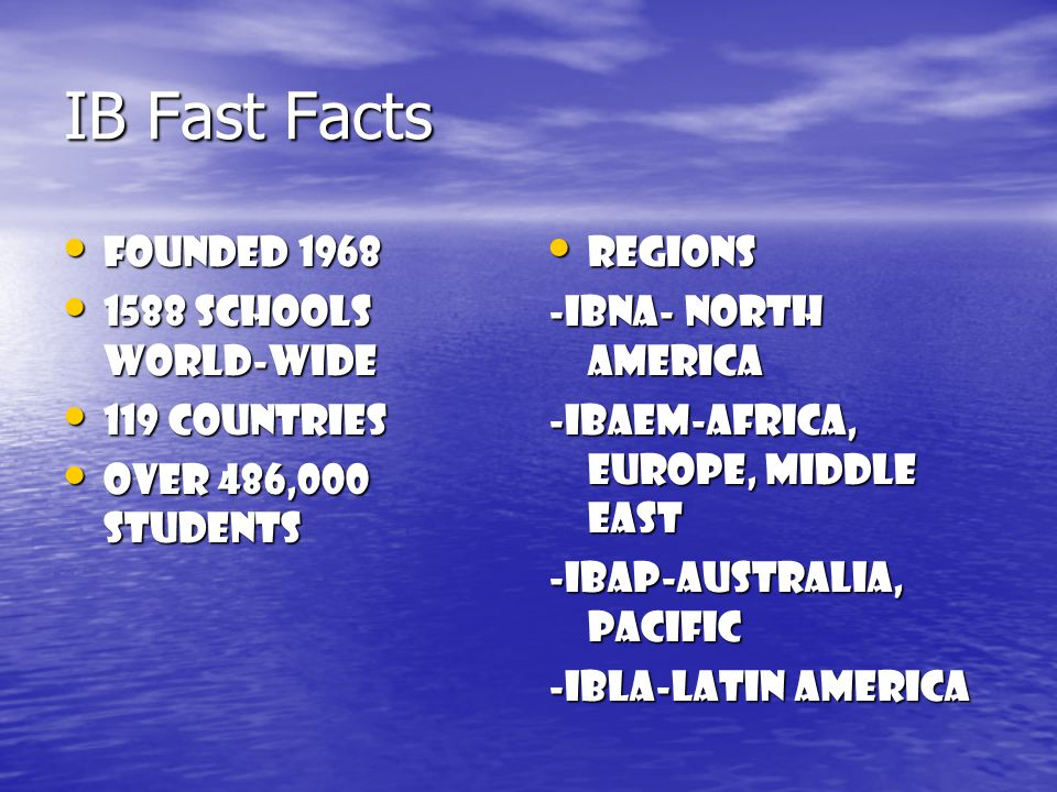 IB Fast Facts Founded 1968 Founded 1968 1588 schools world-wide 1588 schools world-wide 119 countries 119 countries Over 486,000 students Over 486,000 students Regions Regions -IBNA- North America -IBAEM-AFRICA, Europe, Middle East -IBAP-Australia, Pacific -IBLA-Latin America