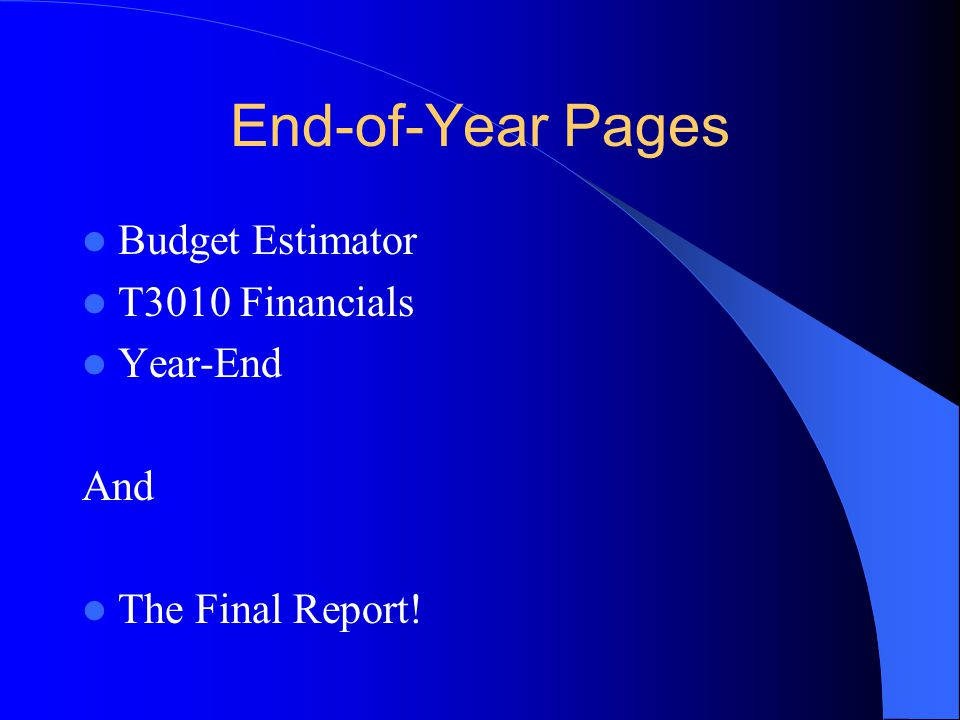 End-of-Year Pages Budget Estimator T3010 Financials Year-End And The Final Report!