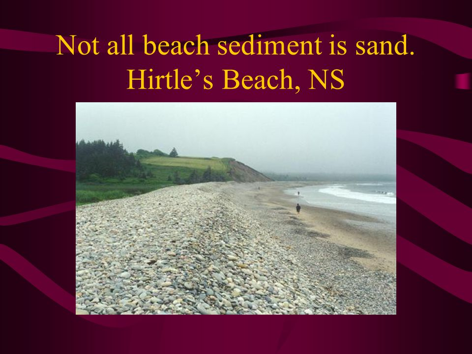 Not all beach sediment is sand. Hirtle's Beach, NS