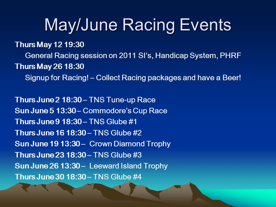 May/June Racing Events Thurs May 12 19:30 General Racing session on 2011 SI's, Handicap System, PHRF Thurs May 26 18:30 Signup for Racing.
