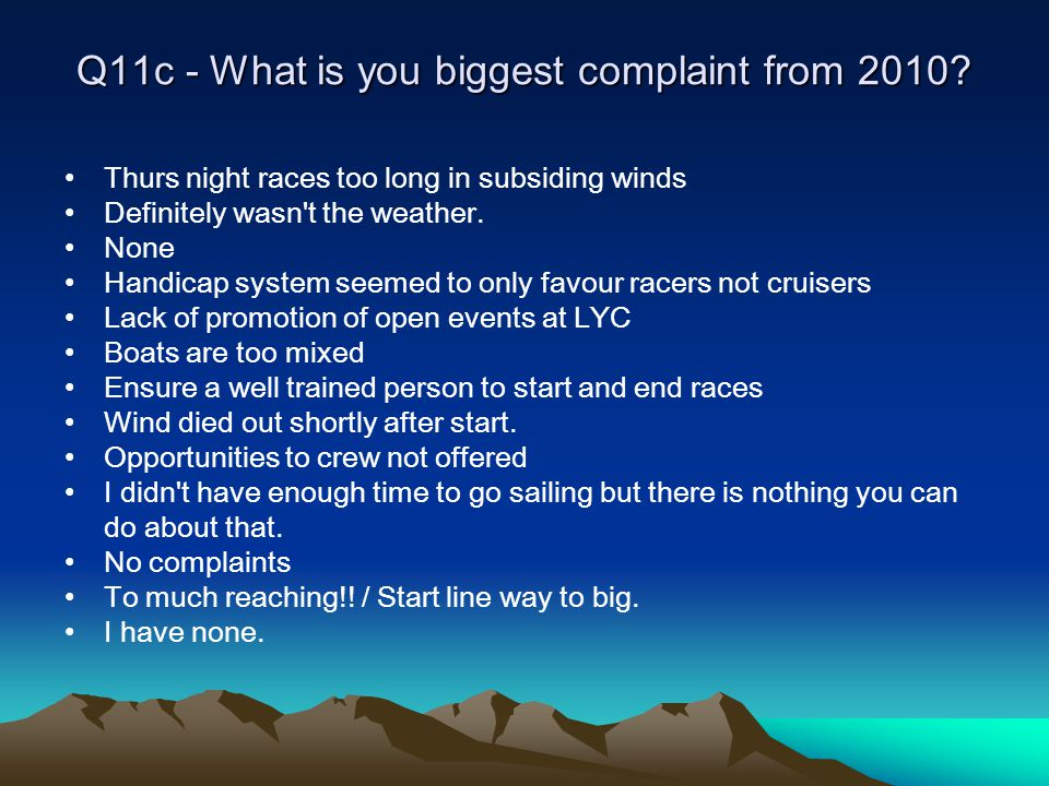 Q11c - What is you biggest complaint from 2010.