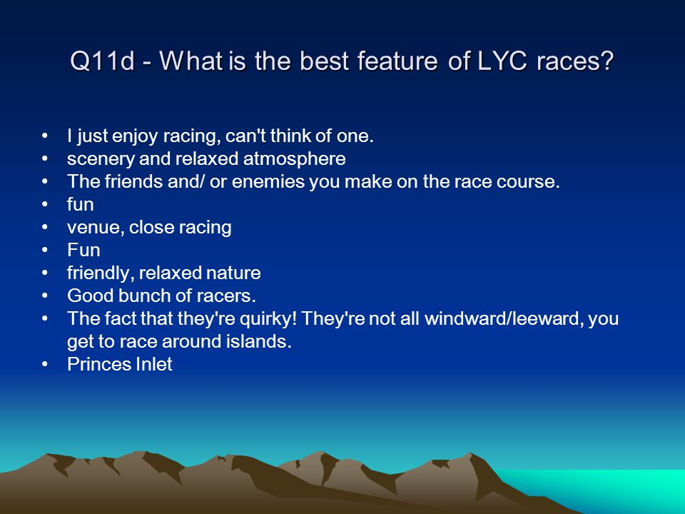 Q11d - What is the best feature of LYC races. I just enjoy racing, can t think of one.