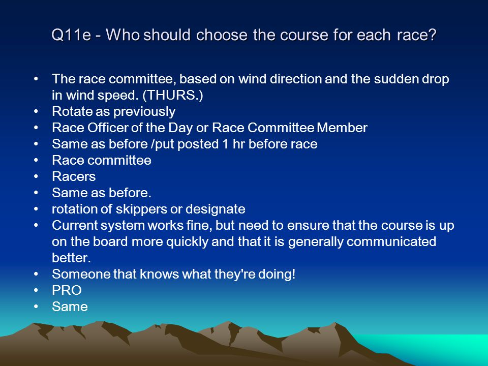 Q11e - Who should choose the course for each race.