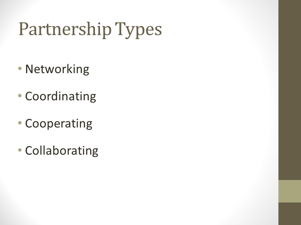 Partnership Types Networking Coordinating Cooperating Collaborating