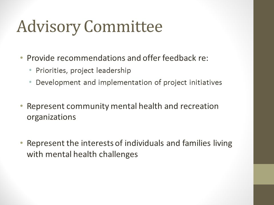 Advisory Committee Provide recommendations and offer feedback re: Priorities, project leadership Development and implementation of project initiatives Represent community mental health and recreation organizations Represent the interests of individuals and families living with mental health challenges