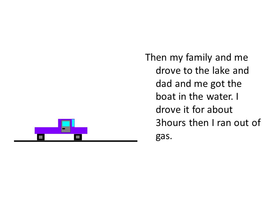 Then my family and me drove to the lake and dad and me got the boat in the water.