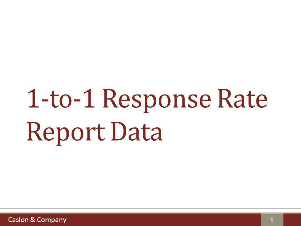 Caslon & Company Terms of Use The following slides contain selected charts and tables from Caslon's 1-to-1 Response Rate Report.