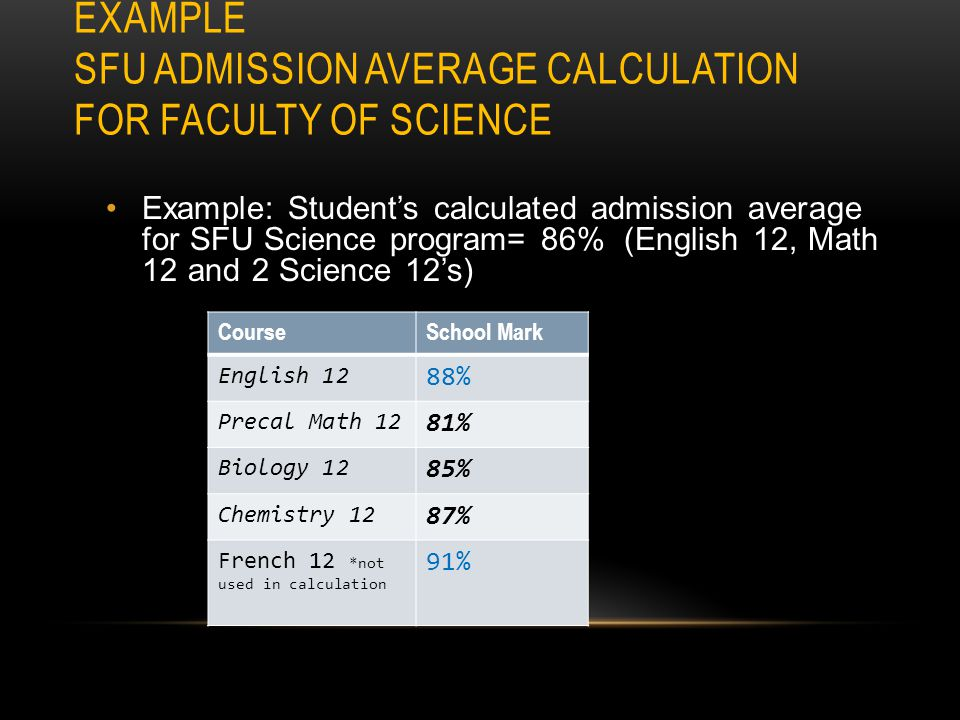 EXAMPLE UBC ADMISSION AVERAGE CALCULATION FOR ARTS FACULTY UBC considers GPA Averages & personal profile Example: Student's calculated admission avera