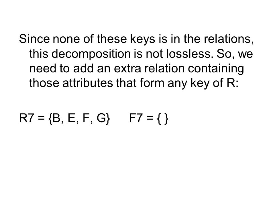 Since none of these keys is in the relations, this decomposition is not lossless.