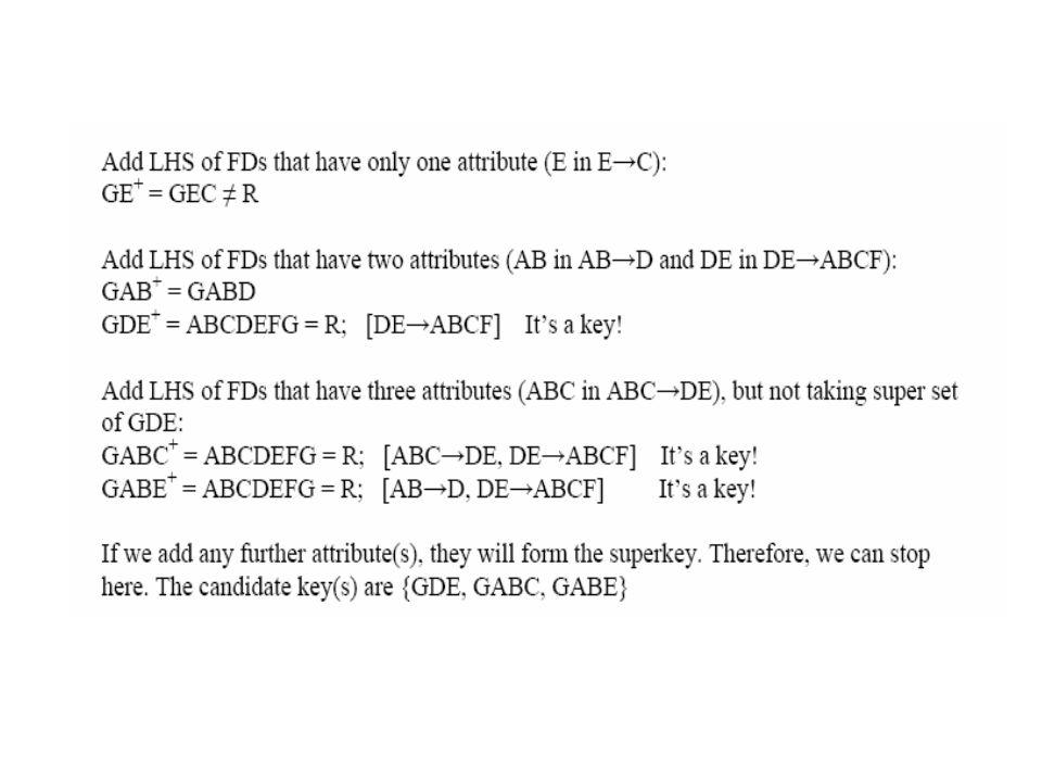 Synthesis Approach R = {A, B, C, D, E, F, G, H} with a set of FDs F = {CD→A, EC→H, GHB→AB, C→D, EG→A, H→B, BE→CD, EC→B} The candidate keys are {BEFG, CEFG, EFGH} Canonical cover for F is: FC = {C→AD, EC→H, GH→A, EG→A, H→B, BE→C}