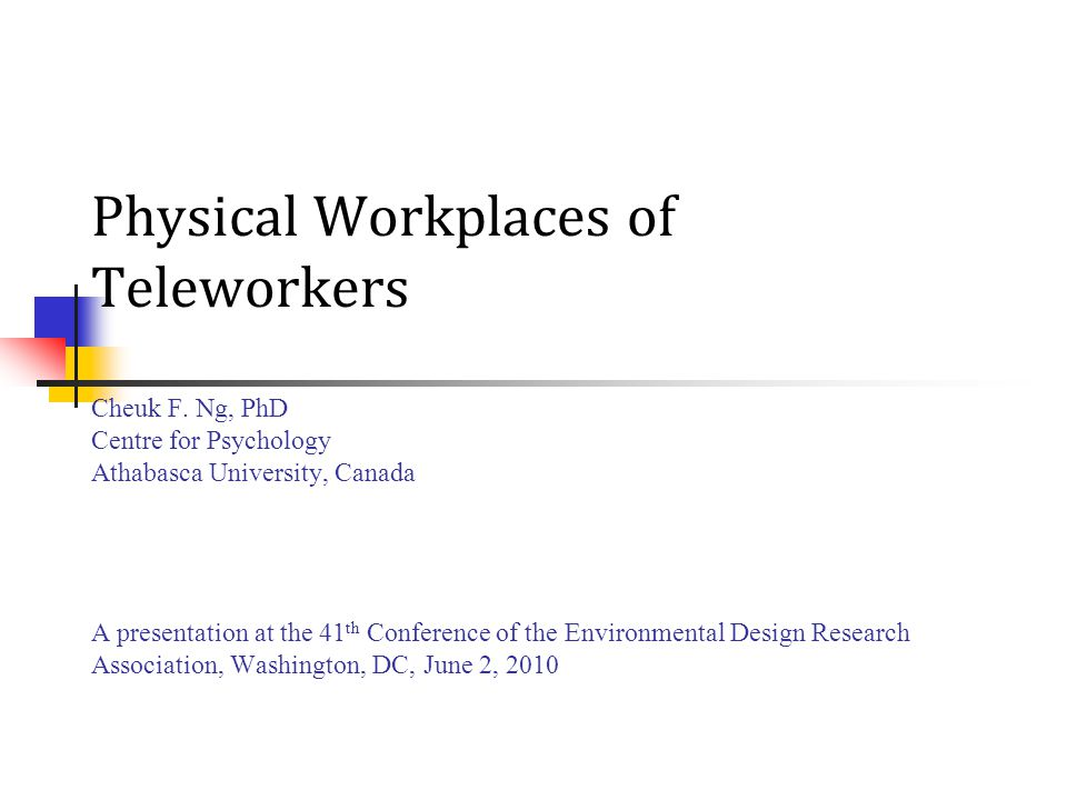 Conclusions Few studies of design/physical conditions of home offices of home-based teleworkers Homeworkers (including teleworkers) seem to desire similar qualities as they desire for the workspace in their corporate office + away from private area and noises within home Current dwellings are not designed for paid work.