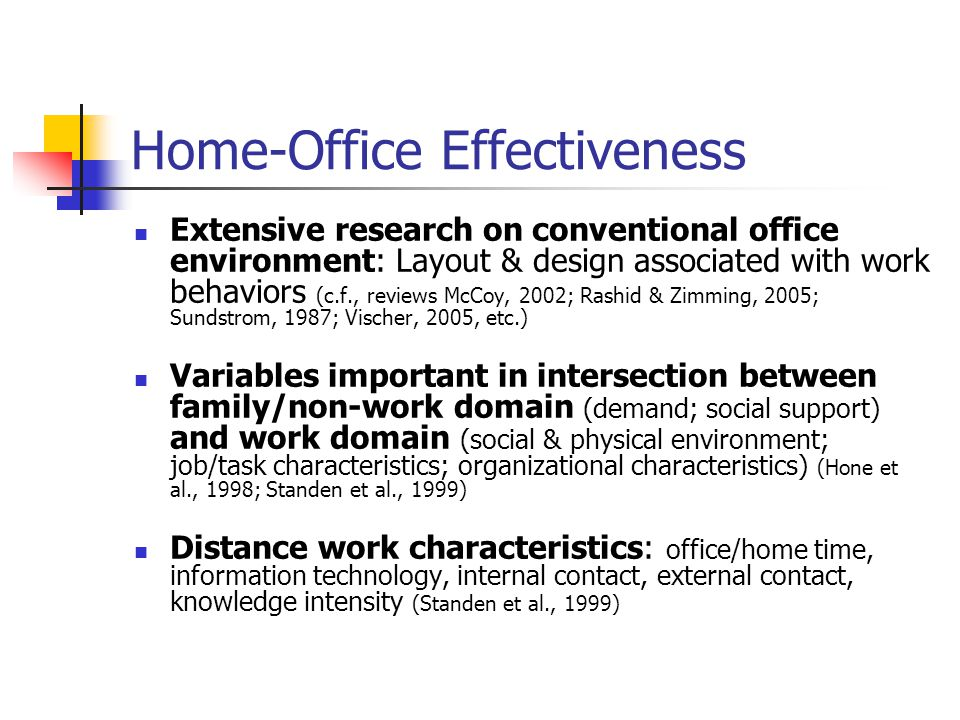 Home-Office Effectiveness Extensive research on conventional office environment: Layout & design associated with work behaviors (c.f., reviews McCoy, 2002; Rashid & Zimming, 2005; Sundstrom, 1987; Vischer, 2005, etc.) Variables important in intersection between family/non-work domain (demand; social support) and work domain (social & physical environment; job/task characteristics; organizational characteristics) (Hone et al., 1998; Standen et al., 1999) Distance work characteristics: office/home time, information technology, internal contact, external contact, knowledge intensity (Standen et al., 1999)