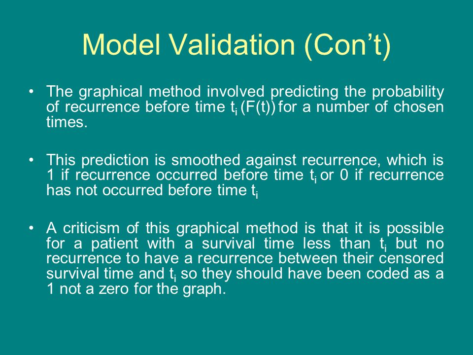 Model Validation (Con't) The graphical method involved predicting the probability of recurrence before time t i (F(t)) for a number of chosen times. T