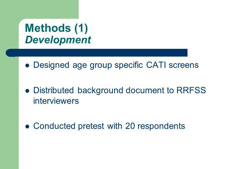 Methods (1) Development Designed age group specific CATI screens Distributed background document to RRFSS interviewers Conducted pretest with 20 respondents