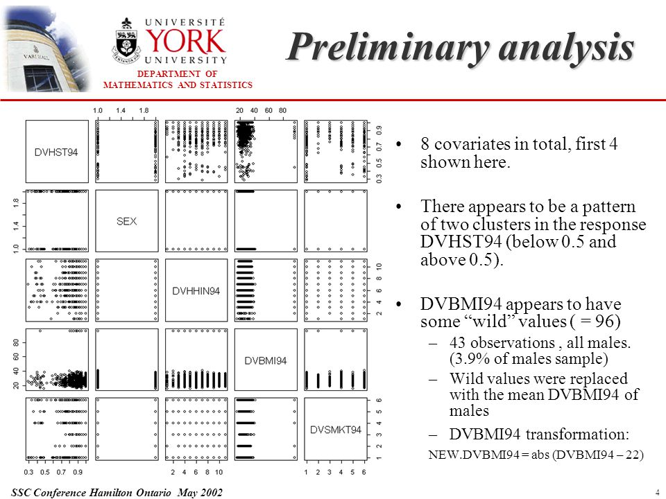 DEPARTMENT OF MATHEMATICS AND STATISTICS SSC Conference Hamilton Ontario May 2002 5 Preliminary analysis There are no obvious linear patterns between the covariates and the response DVHST94 DVPP94 is recoded as dichotomous: NEW.DVPP94 = 0 (91% of observations) NEW.DVPP94 > 0 (9% of observations) The AGEGRP covariate is recoded to NEW.AGE NEW.AGE = mid range value (AGEGRP) – 20