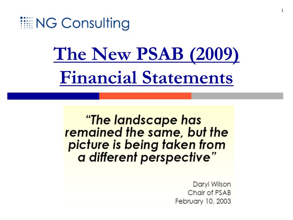 1 The New PSAB (2009) Financial Statements