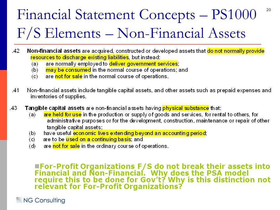 20 Financial Statement Concepts – PS1000 F/S Elements – Non-Financial Assets For-Profit Organizations F/S do not break their assets into Financial and Non-Financial.