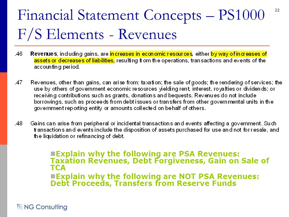 22 Financial Statement Concepts – PS1000 F/S Elements - Revenues Explain why the following are PSA Revenues: Taxation Revenues, Debt Forgiveness, Gain on Sale of TCA Explain why the following are NOT PSA Revenues: Debt Proceeds, Transfers from Reserve Funds