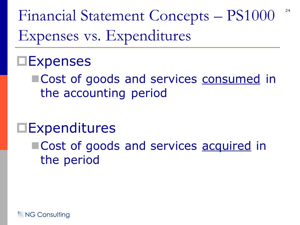 24  Expenses Cost of goods and services consumed in the accounting period  Expenditures Cost of goods and services acquired in the period Financial
