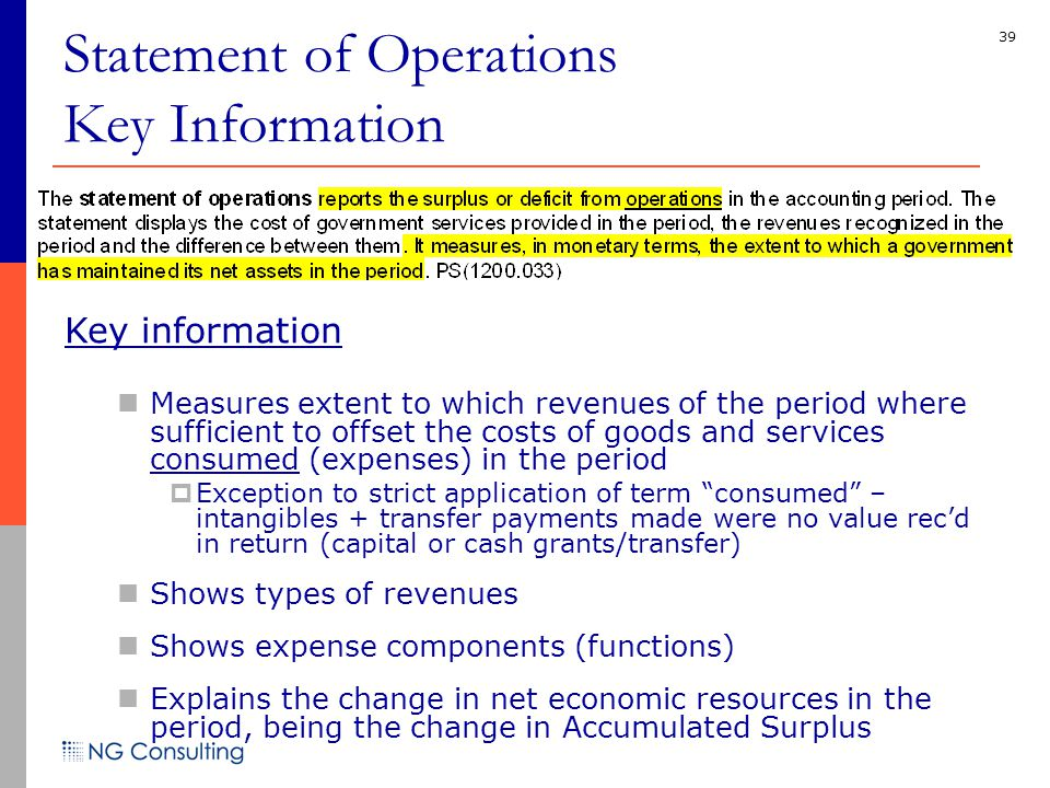 39 Statement of Operations Key Information Key information Measures extent to which revenues of the period where sufficient to offset the costs of goods and services consumed (expenses) in the period  Exception to strict application of term consumed – intangibles + transfer payments made were no value rec'd in return (capital or cash grants/transfer) Shows types of revenues Shows expense components (functions) Explains the change in net economic resources in the period, being the change in Accumulated Surplus