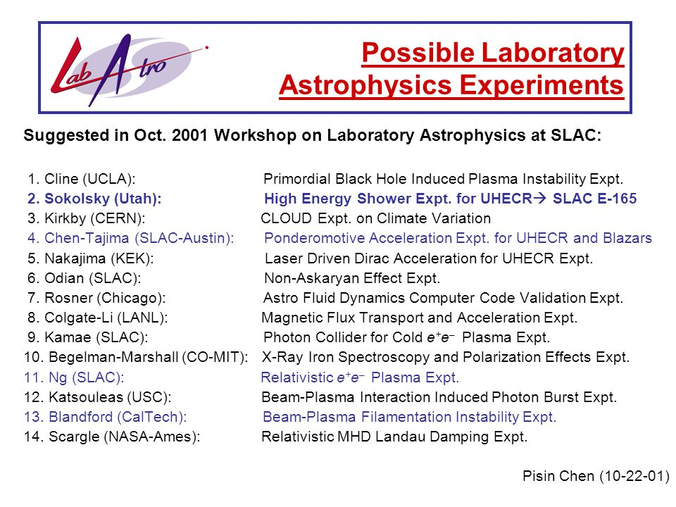 Suggested in Oct. 2001 Workshop on Laboratory Astrophysics at SLAC: 1.