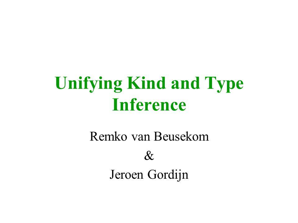 Unifying Kind and Type Inference Remko van Beusekom & Jeroen Gordijn
