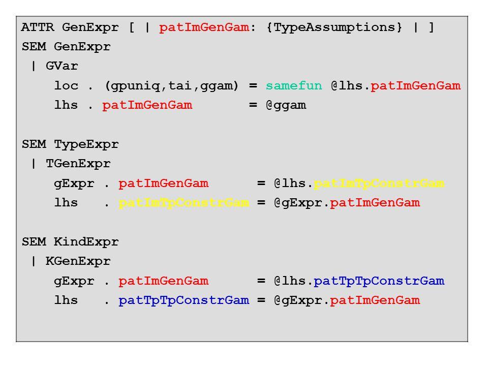 ATTR GenExpr [ | patImGenGam: {TypeAssumptions} | ] SEM GenExpr | GVar loc.