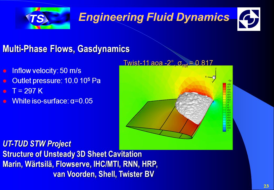 23 Engineering Fluid Dynamics Multi-Phase Flows, Gasdynamics UT-TUD STW Project Structure of Unsteady 3D Sheet Cavitation Marin, Wärtsilä, Flowserve, IHC/MTI, RNN, HRP, van Voorden, Shell, Twister BV Twist-11 aoa -2°, σ ref = 0.817 Inflow velocity: 50 m/s Outlet pressure: 10.0 10 5 Pa T = 297 K White iso-surface: α=0.05