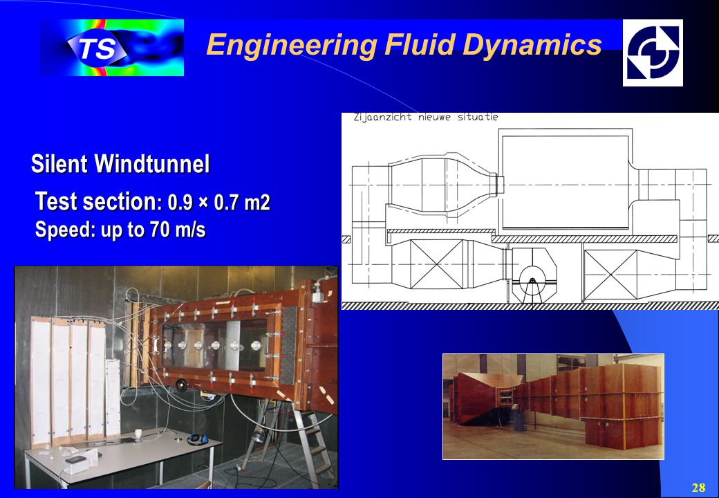 28 Engineering Fluid Dynamics Silent Windtunnel Test section : 0.9 × 0.7 m2 Speed: up to 70 m/s