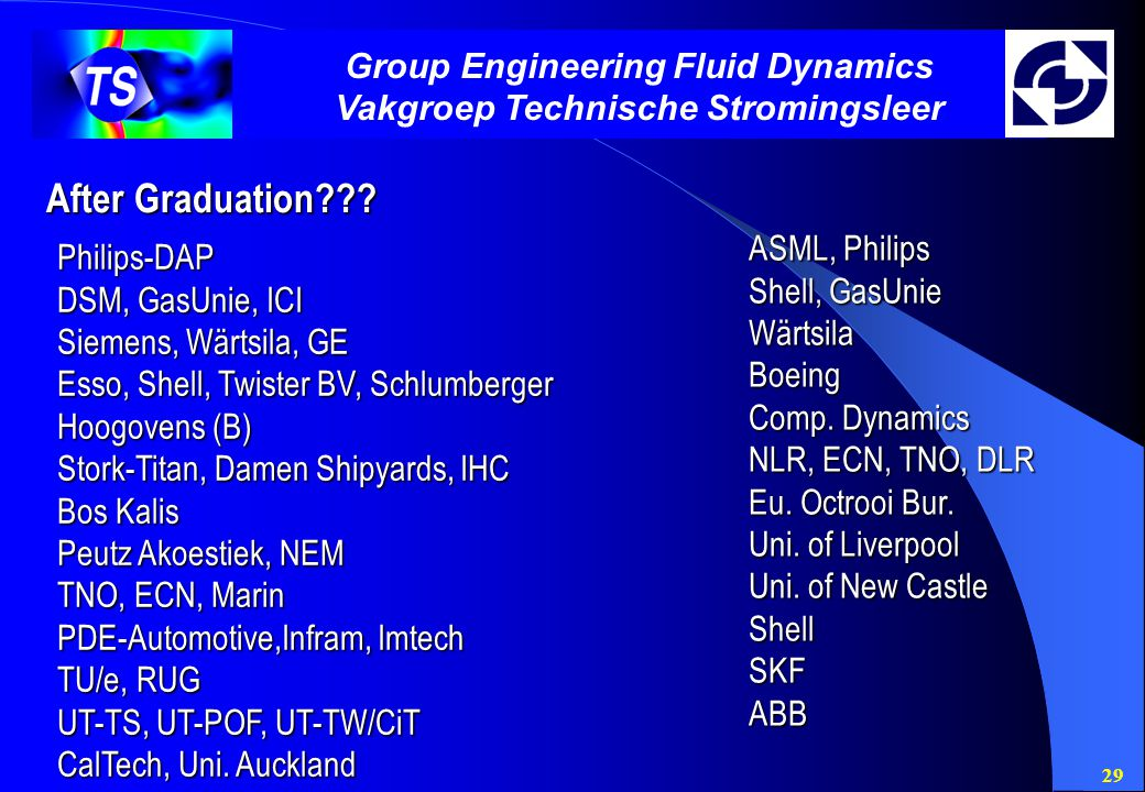 29 Group Engineering Fluid Dynamics Vakgroep Technische Stromingsleer After Graduation??.