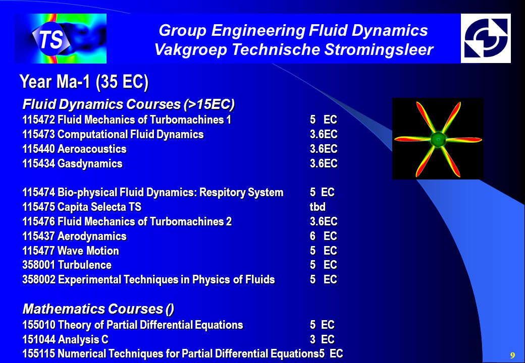 9 Group Engineering Fluid Dynamics Vakgroep Technische Stromingsleer Year Ma-1 (35 EC) Fluid Dynamics Courses (>15EC) 115472 Fluid Mechanics of Turbomachines 15 EC 115473 Computational Fluid Dynamics3.6EC 115440 Aeroacoustics3.6EC 115434 Gasdynamics3.6EC 115474 Bio-physical Fluid Dynamics: Respitory System5 EC 115475 Capita Selecta TStbd 115476 Fluid Mechanics of Turbomachines 23.6EC 115437 Aerodynamics6 EC 115477 Wave Motion5 EC 358001 Turbulence5 EC 358002 Experimental Techniques in Physics of Fluids5 EC Mathematics Courses () 155010 Theory of Partial Differential Equations5 EC 151044 Analysis C3 EC 155115 Numerical Techniques for Partial Differential Equations5 EC