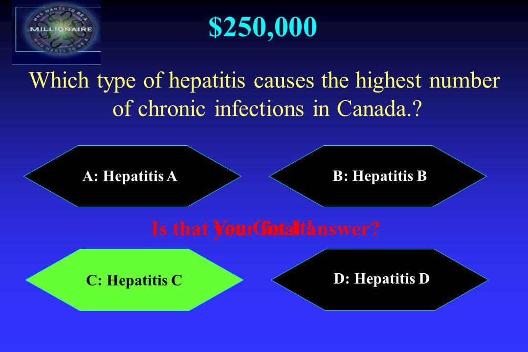 $250,000 A: Hepatitis A B: Hepatitis B C: Hepatitis C D: Hepatitis D Which type of hepatitis causes the highest number of chronic infections in Canada