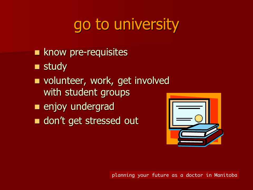 go to university know pre-requisites know pre-requisites study study volunteer, work, get involved with student groups volunteer, work, get involved with student groups enjoy undergrad enjoy undergrad don't get stressed out don't get stressed out