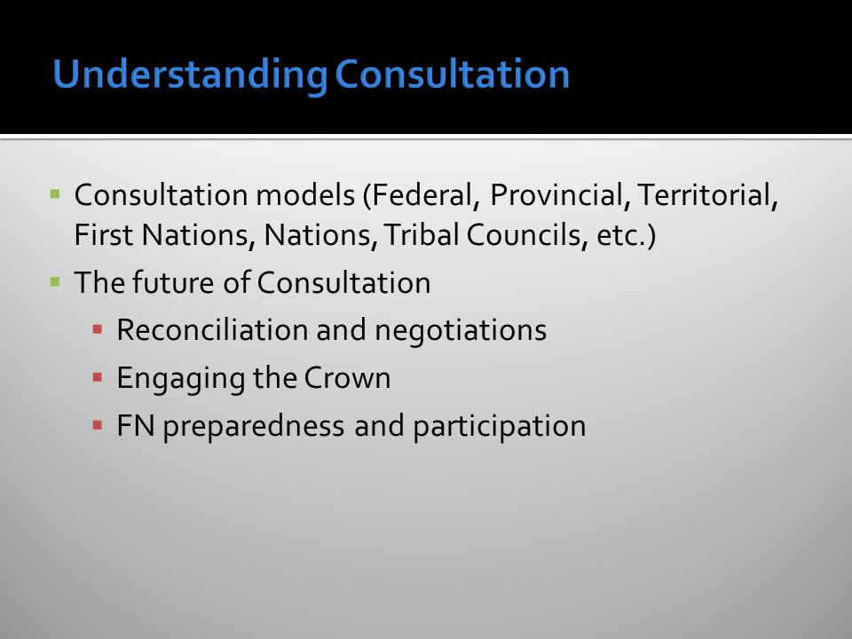  Consultation models (Federal, Provincial, Territorial, First Nations, Nations, Tribal Councils, etc.)  The future of Consultation  Reconciliation and negotiations  Engaging the Crown  FN preparedness and participation