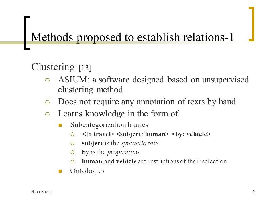 Nima Kaviani16 Methods proposed to establish relations-1 Clustering [13]  ASIUM: a software designed based on unsupervised clustering method  Does n