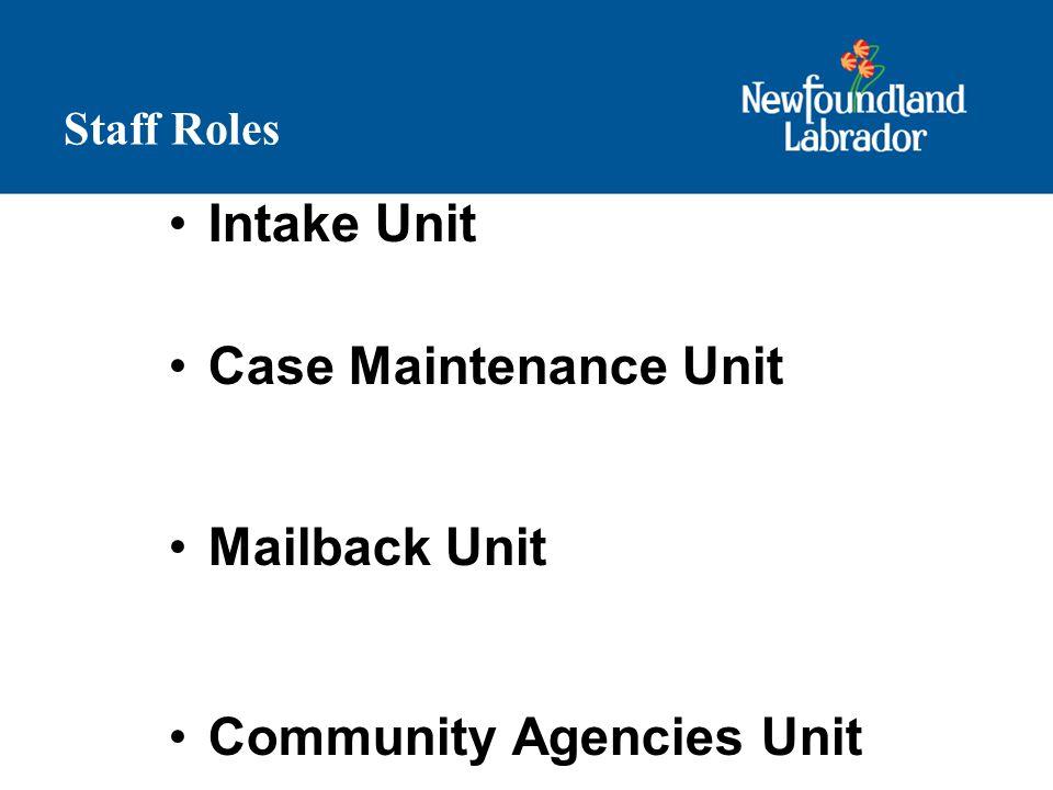 Staff Roles Intake Unit Case Maintenance Unit Mailback Unit Community Agencies Unit