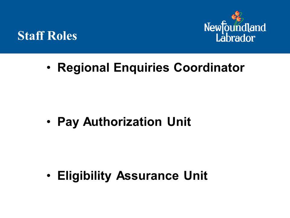 Staff Roles Regional Enquiries Coordinator Pay Authorization Unit Eligibility Assurance Unit